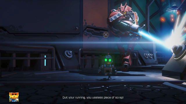 Teraz czeka cię ucieczka przed wrogiem - nie próbuj nawet z nim walczyć, gdyż trzeba po prostu wziąć nogi za pas - Planeta Veldin - Opis przejścia - Ratchet & Clank - poradnik do gry