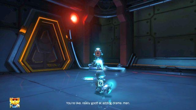 W nowym pomieszczeniu czeka na ciebie nowy robot, służący do zasilania mechanizmów (powerbot) - Planeta Veldin - Opis przejścia - Ratchet & Clank - poradnik do gry