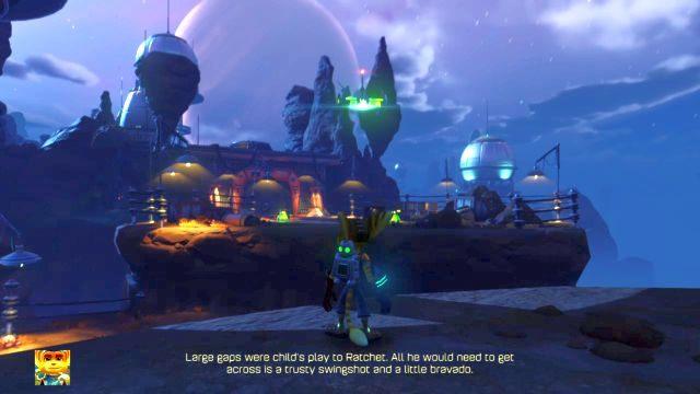 Wkrótce dotrzesz do dość sporej przepaści, przez którą normalnie nie przeskoczysz - trzeba będzie wykorzystać linkę z hakiem - Planeta Veldin - Opis przejścia - Ratchet & Clank - poradnik do gry