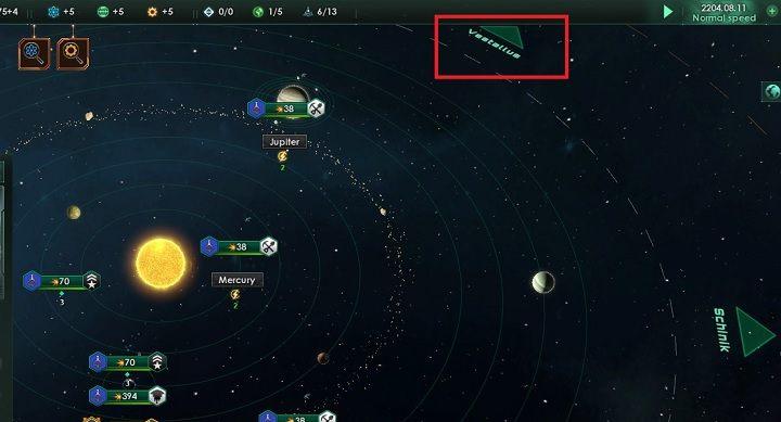Przenieś się do sąsiedniego układu klikając na zielonej strzałce zaznaczonej na zdjęciu - Zajmowanie układów i kolonizacja planet   Dobry start w Stellaris - Stellaris - poradnik do gry