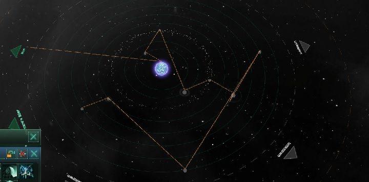 Statek badawczy standardowo wyznaczy sobie własną ścieżkę badania układu - Zajmowanie układów i kolonizacja planet   Dobry start w Stellaris - Stellaris - poradnik do gry