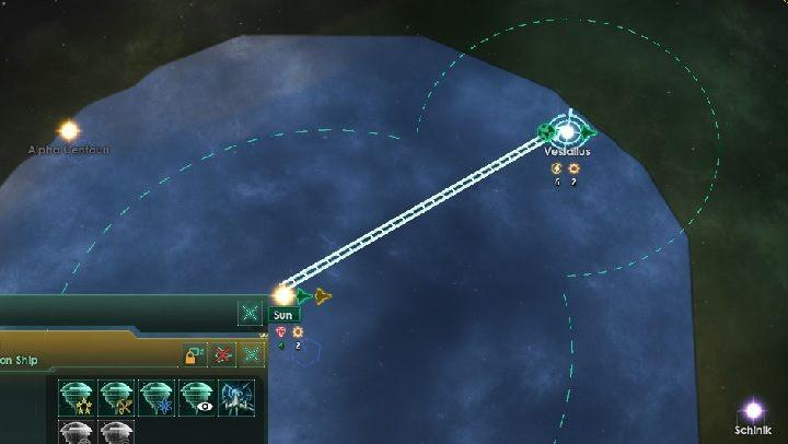 Po zbadaniu układu wybierz statek konstrukcyjny i rozkaż mu udanie się do sąsiedniego układu - Zajmowanie układów i kolonizacja planet   Dobry start w Stellaris - Stellaris - poradnik do gry