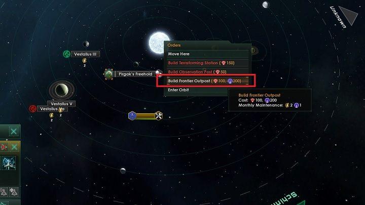 Gdy statek konstrukcyjny przeniesie się we wskazane miejsce musisz kliknąć PPM na gwieździe układu - Zajmowanie układów i kolonizacja planet   Dobry start w Stellaris - Stellaris - poradnik do gry