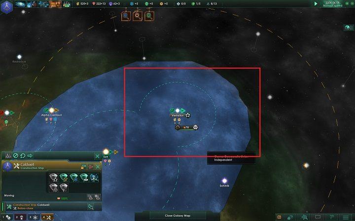 Wraz z powstaniem posterunku twoje pole wpływów na mapie galaktyki rozszerzyło się - Zajmowanie układów i kolonizacja planet   Dobry start w Stellaris - Stellaris - poradnik do gry