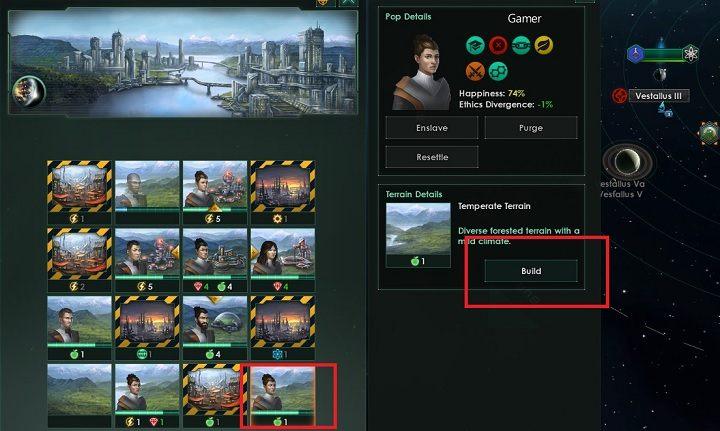 Po wybraniu niezabudowanego sektora pojawi się dodatkowy panel - Zajmowanie układów i kolonizacja planet   Dobry start w Stellaris - Stellaris - poradnik do gry