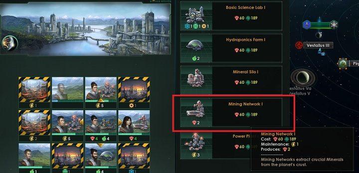 W ramach panelu wyświetlone zostaną propozycje budowli, które możesz wznieść w danym sektorze - Zajmowanie układów i kolonizacja planet   Dobry start w Stellaris - Stellaris - poradnik do gry