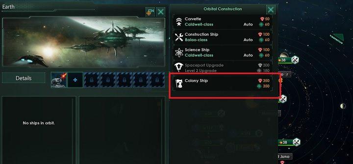Zauważ, ze lista dostępnych jednostek została rozszerzona o dodatkową jednostkę - statek kolonizacyjny - Zajmowanie układów i kolonizacja planet   Dobry start w Stellaris - Stellaris - poradnik do gry