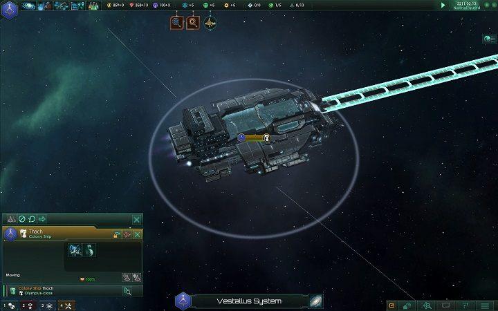 Kiedy jednostka będzie gotowa zaznacz ją - Zajmowanie układów i kolonizacja planet   Dobry start w Stellaris - Stellaris - poradnik do gry