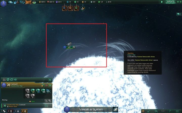 Ważnym jest, żebyś po zbadaniu sąsiednich układów wybrał taki, który odpowiada twoim założeniom i zbudował posterunek graniczny na jego gwieździe - Rozwój imperium w 4 prostych krokach   Dobry start w Stellaris - Stellaris - poradnik do gry