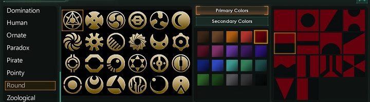 Kreator flagi jest bardzo rozbudowany więc każdy gracz znajdzie zestawienie, które przypadnie mu do gustu - Kreator tworzenia frakcji   Frakcje w Stellaris - Stellaris - poradnik do gry