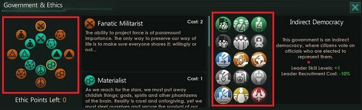 Na powyższym obrazku zostały oznaczone dwa elementy zakładki - Kreator tworzenia frakcji - Frakcje - Stellaris - poradnik do gry