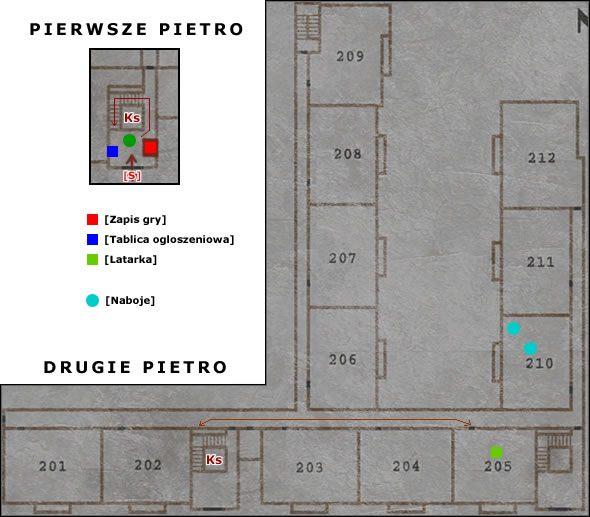 Jak tylko wejdziesz do budynku po lewej stronie na tablicy ogłoszeniowej jest Mapa - Wood Side Apartment - Część 1 - Silent Hill 2 - poradnik do gry