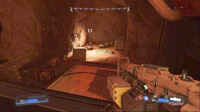 Na lewo od wejścia do klasycznej mapy jest natomiast kolejna platforma - Obiekt Argentu (zniszczony) | Opis przejścia - Doom - poradnik do gry