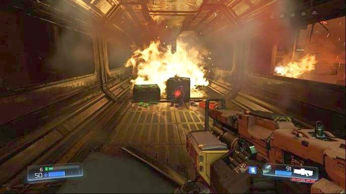 Idąc dalej prosto zobaczysz w dole zniszczony korytarz - Obiekt Argentu (zniszczony) | Opis przejścia - Doom - poradnik do gry
