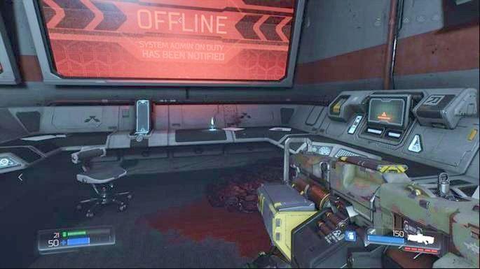 Kawałek dalej będzie pomieszczenie z leżącym w rogu Dziennikiem zapytań oraz komputerem, którego musisz użyć - Obiekt Argentu (zniszczony) | Opis przejścia - Doom - poradnik do gry