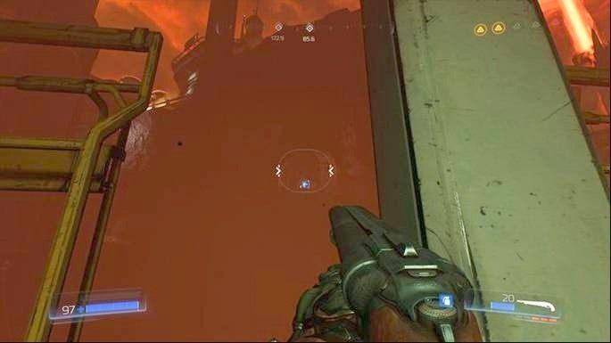 Po zaliczeniu runy odwróć się i trzymaj lewej krawędzi skały - Obiekt Argentu (zniszczony) | Opis przejścia - Doom - poradnik do gry