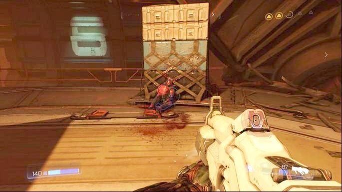 Gdy ostatni przeciwnik zginie, skorzystaj z wyrzutni grawitacyjnego i wskocz na platformę wyżej - Obiekt Argentu (zniszczony) | Opis przejścia - Doom - poradnik do gry