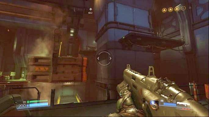 Gdy doleci do ściany z prawej, wskocz na nią, a następnie doskocz do platformy na prawo - Obiekt Argentu (zniszczony) | Opis przejścia - Doom - poradnik do gry