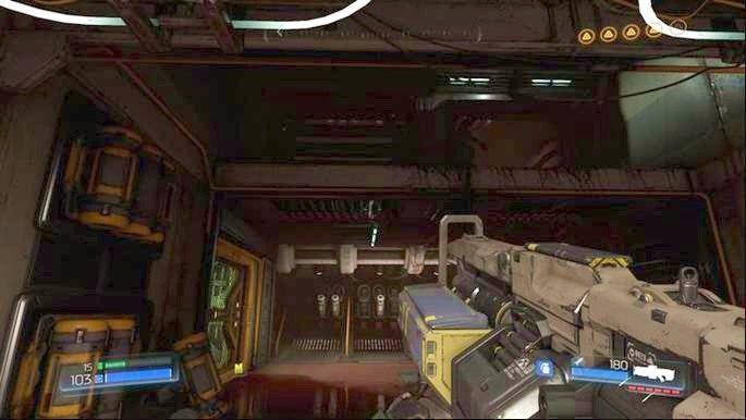 Zanim jednak pójdziesz dalej na dół, cofnij się do wejścia i wskocz piętro wyżej - Obiekt Argentu (zniszczony) | Opis przejścia - Doom - poradnik do gry