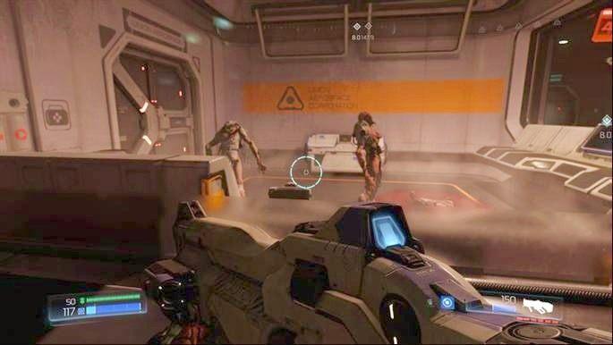 Po dojechaniu do stacji, wysiądź i wejdź schodami poziom wyżej - Kompleks Badań | Opis przejścia - Doom - poradnik do gry