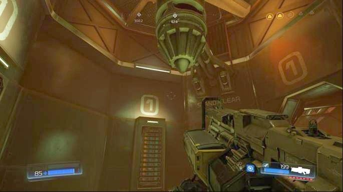 Idąc prosto dojdziesz do miejsca, z którego będziesz mógł przejść poziom wyżej - Kompleks Badań | Opis przejścia - Doom - poradnik do gry