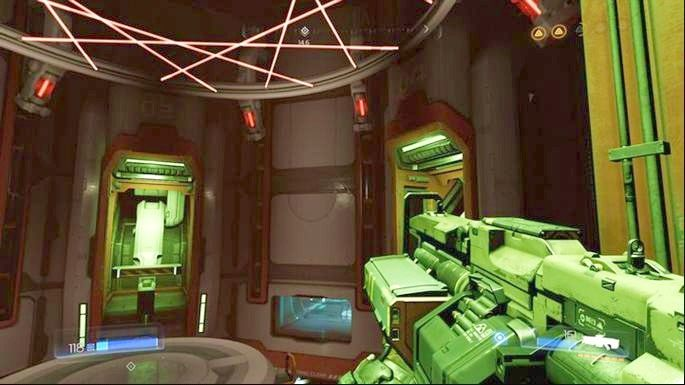 Jak pojawi się wielki ruchomy pierścień z laserami, poczekać, aż przesunie się na górę, a następnie zniszcz cztery czerwone hamulce pod nim - Kompleks Badań | Opis przejścia - Doom - poradnik do gry