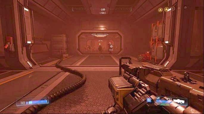 Wróć teraz do pomieszczenia z panelem, którego wcześniej użyłeś i idź prosto przed siebie - Kompleks Badań | Opis przejścia - Doom - poradnik do gry