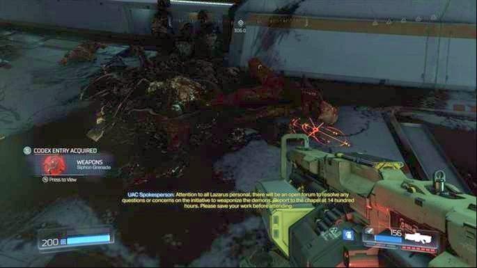 W kolejnym pomieszczeniu znajdziesz Granat Wysysający - Laboratoria Lazarus | Opis przejścia - Doom - poradnik do gry