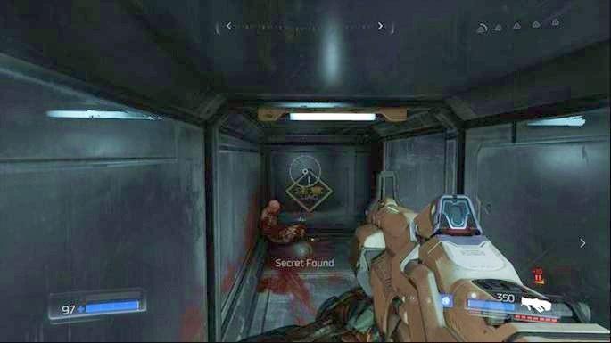 Gdy walka dobiegnie końca, przejdź do lokacji obok, otwórz skrzynię z amunicją, a następnie obejdź duże skrzynie leżące obok - Laboratoria Lazarus | Opis przejścia - Doom - poradnik do gry