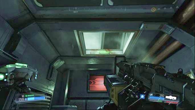 Po ulepszeniu broni wdrap się poziom wyżej przez szyb w suficie - Laboratoria Lazarus | Opis przejścia - Doom - poradnik do gry