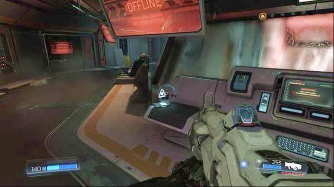 Kawałek dalej natkniesz się na kilku słabych wrogów - Laboratoria Lazarus | Opis przejścia - Doom - poradnik do gry