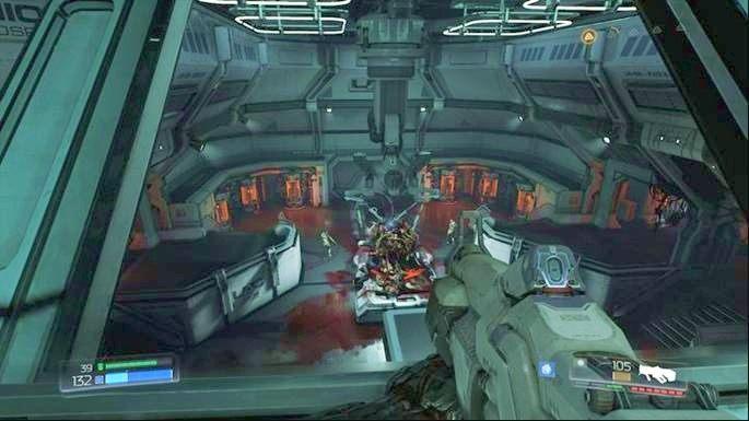 Otwórz teraz pobliskie drzwi i idź dalej w lewo - Laboratoria Lazarus | Opis przejścia - Doom - poradnik do gry