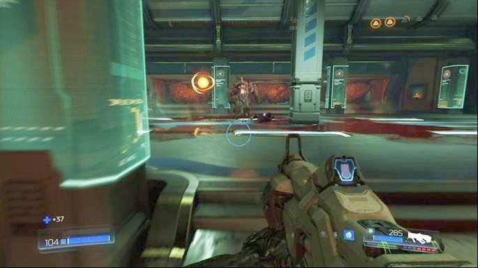 Dalsza droga prowadzi po schodach na prawo lub lewo od sekretu - Laboratoria Lazarus | Opis przejścia - Doom - poradnik do gry