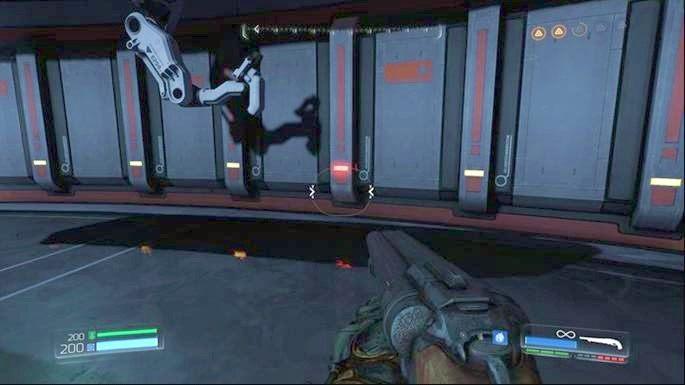 Jak znajdziesz się w środku, wdrap się z prawej strony piętro wyżej - Laboratoria Lazarus | Opis przejścia - Doom - poradnik do gry