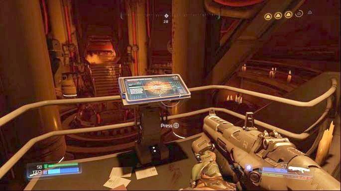 Po zaliczeniu obu sekretów, wróć na górę i skorzystaj ze znajdującego się tam panelu - Laboratoria Lazarus | Opis przejścia - Doom - poradnik do gry