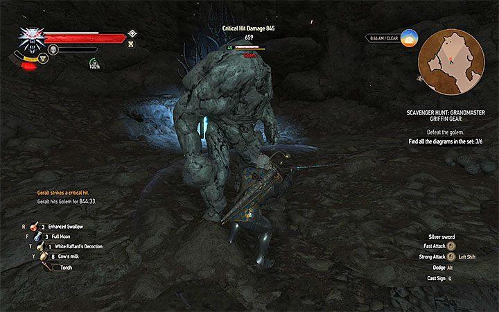 Tuż po przejściu przez portal Geralt zmuszony zostanie do pokonania 40-poziomowego golema - Arcymistrzowski rynsztunek Gryfa - Arcymistrzowski wiedźmiński rynsztunek - Wiedźmin 3: Krew i wino - poradnik do gry