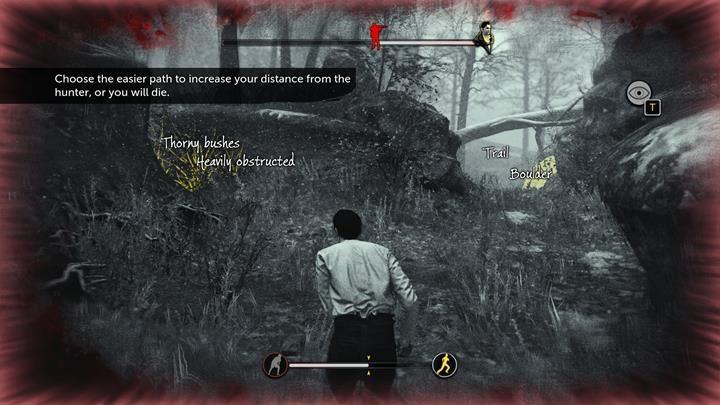 Po rozpoczęciu gonitwy, biegnij przed siebie i chowaj się za drzewami i kamieniami - Ucieczka przed myśliwym - Prey Tell / Ofiarna opowieść - Sherlock Holmes: The Devils Daughter - poradnik do gry