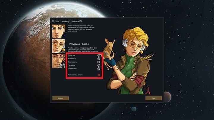 Po wyborze pisarza SI, możesz jeszcze wybrać dodatkowe parametry rozgrywki - Tryby gry - Podstawy rozgrywki - RimWorld - poradnik do gry