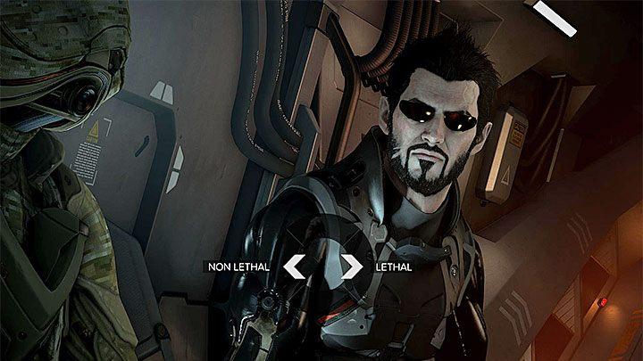 Moment wyboru startowego uzbrojenia - Zakupy na Czarnym Rynku - główne zadanie - Dubaj - Deus Ex: Rozłam Ludzkości - poradnik do gry