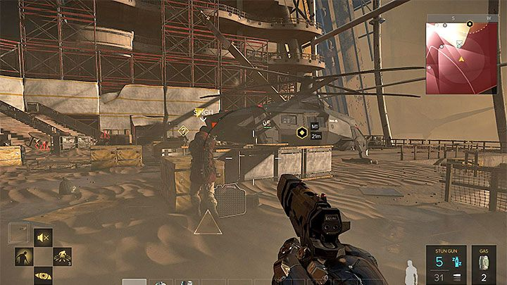 Singh broni się w pobliżu śmigłowca - Zakupy na Czarnym Rynku - główne zadanie - Dubaj - Deus Ex: Rozłam Ludzkości - poradnik do gry