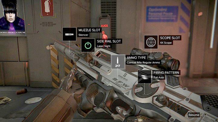 Broń możesz dostosować w szybko dostępnym menu pauzując jednocześnie grę. - Bronie (opis i lokalizacje) - Zestawienia - Deus Ex: Rozłam Ludzkości - poradnik do gry