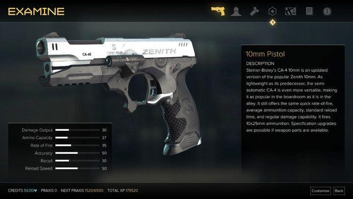 Pistolet - Bronie (opis i lokalizacje) - Zestawienia - Deus Ex: Rozłam Ludzkości - poradnik do gry