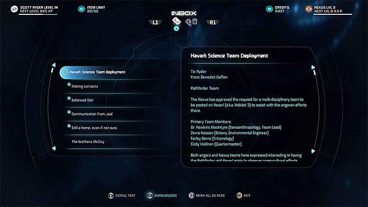 Zaczekaj na maila od Inicjatywy Andromeda - Zadania dodatkowe | Havarl | Zadania w Helejosie - Mass Effect: Andromeda - poradnik do gry