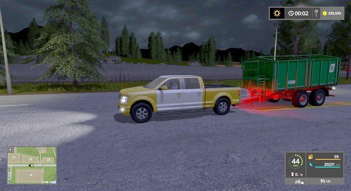 Pick-up może przewozić lekkie naczepki z ładunkiem z dużo większą prędkością - jednak głównie tylko na asfalcie - Porady strategiczne - Dla początkujących - Farming Simulator 17 - poradnik do gry