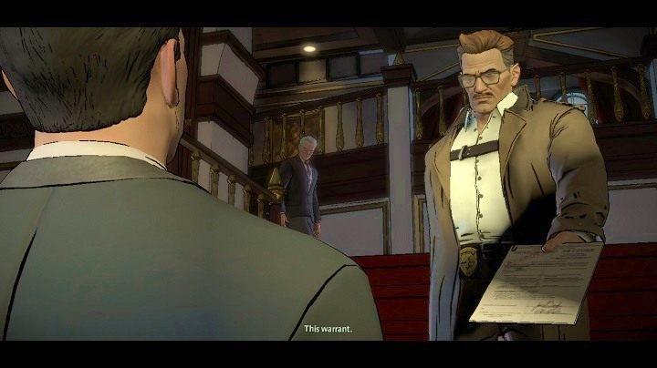 Gordon pokazuje ci nakaz, zapewniając, że całe zajście nie jest wymierzone w w ciebie, ale trzeba sprawdzić zaistniałą sytuację - Chapter 4 - Worlds Greatest Detective | Realm of Shadows - Batman: The Telltale Games Series - poradnik do gry