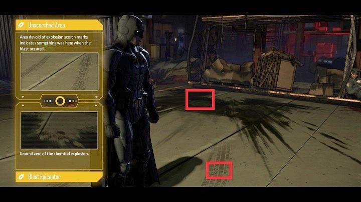 Operując odpowiednio kamerą i używając klawisza S, możesz zauważyć, że blisko plamy chemikaliów są ślady opon - Chapter 4 - Worlds Greatest Detective | Realm of Shadows - Batman: The Telltale Games Series - poradnik do gry