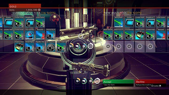 Pozyskiwanie nowych multinarzędzi z większą ilością slotów jest nieco bardziej skomplikowane niż w przypadku kombinezonu - Multinarzędzie | Ulepszanie statków i ekwipunku - No Mans Sky - poradnik do gry