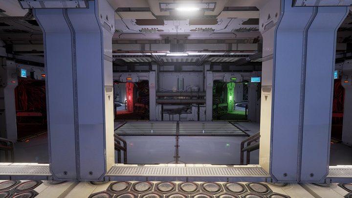 Po zejściu z drabiny kieruj się cały czas przed siebie aż nie dotrzesz do pomieszczenia w którym znajdują się cztery przejścia - Prolog - Opis Przejścia - The Turing Test - poradnik do gry