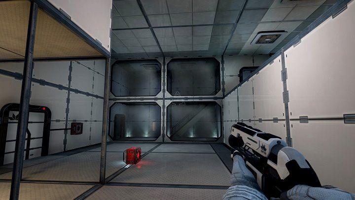W sektorze A6 podnosimy pojemnik i wkładamy go do miejsca obok drzwi znajdujących się po naszej lewej stronie - Chapter 1 - Opis Przejścia - The Turing Test - poradnik do gry