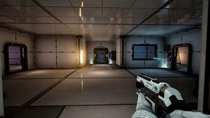 Po dotarciu do sektora A9 udajemy się do pomieszczenia znajdującego się po naszej lewej stronie, połyskuję on kolorem różowym - Chapter 1 - Opis Przejścia - The Turing Test - poradnik do gry